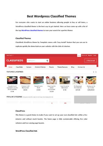Wordpress Classified Themes by Seoily - issuu