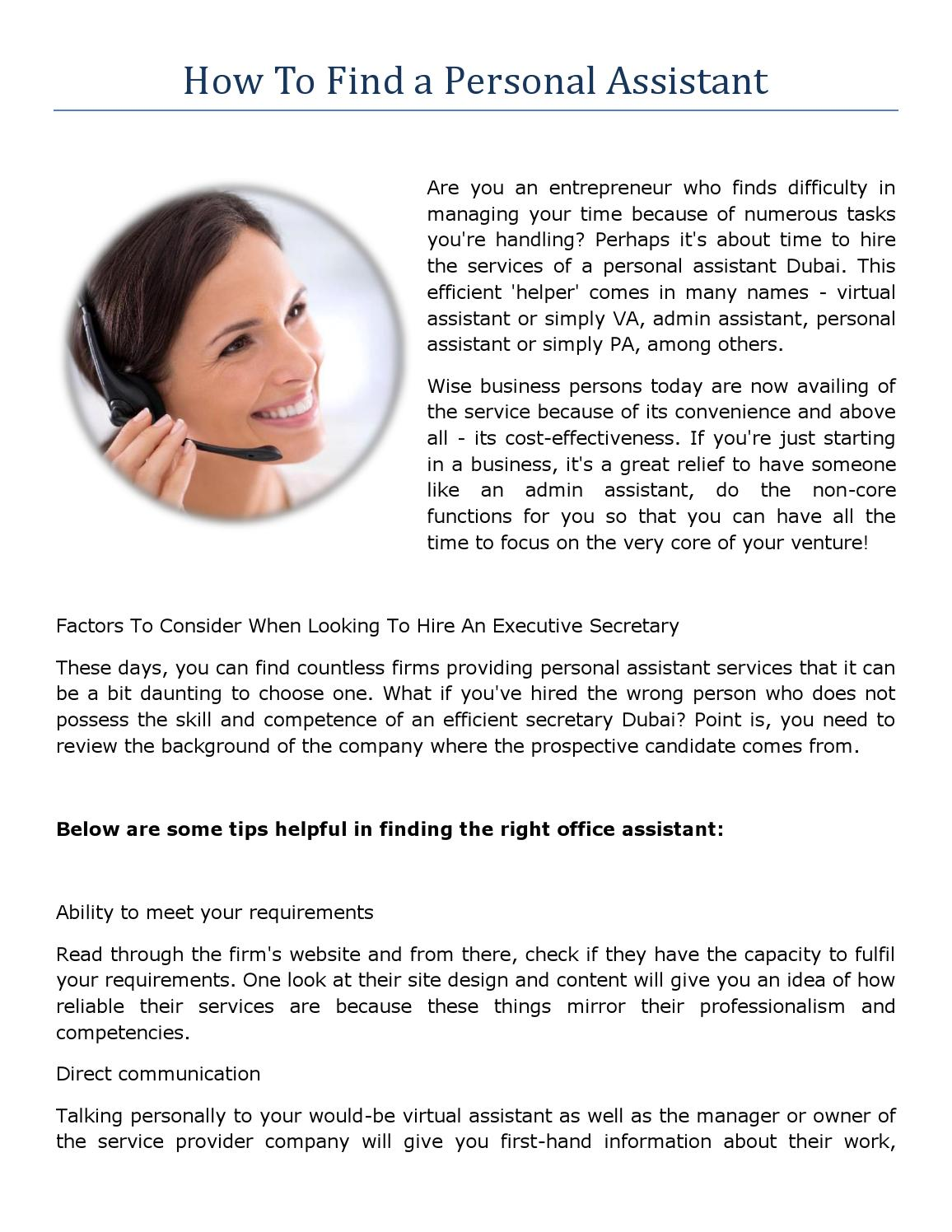 How to Find a Personal Assistant by virtualofficeuae - issuu