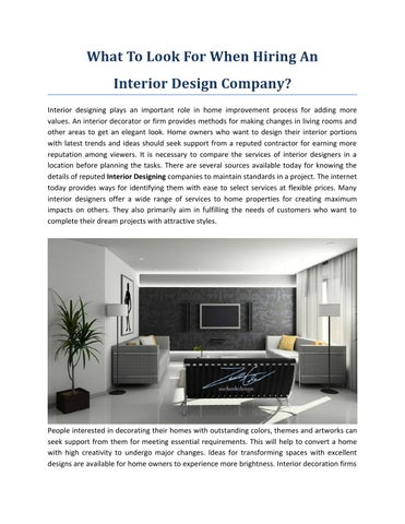 What To Look For When Hiring An Interior Design Company In 2016 By Zach Cole Design Issuu