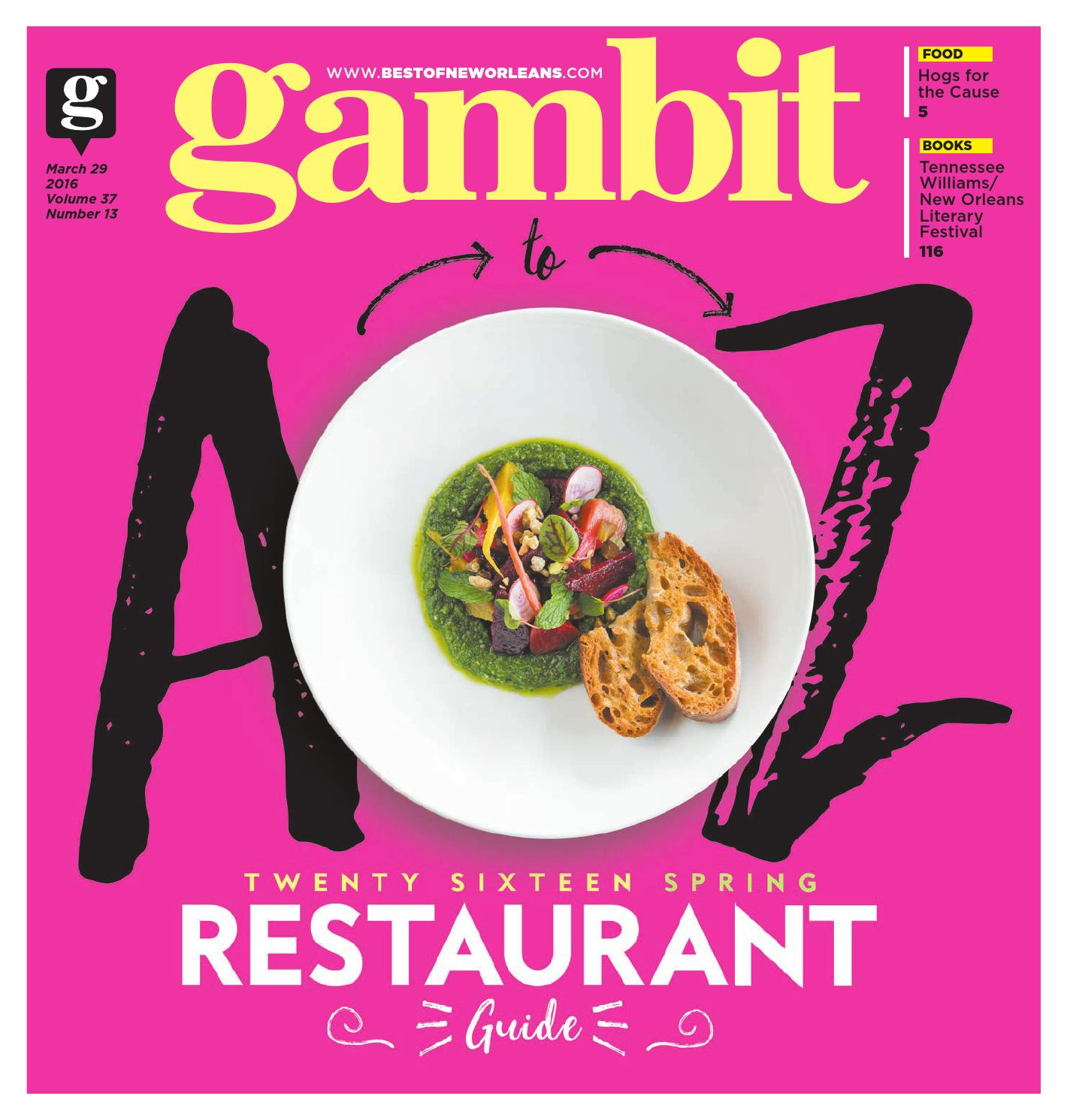 new orleans spring restaurant guide 2016 by gambit new orleans issuu - Raised Panel Restaurant 2016