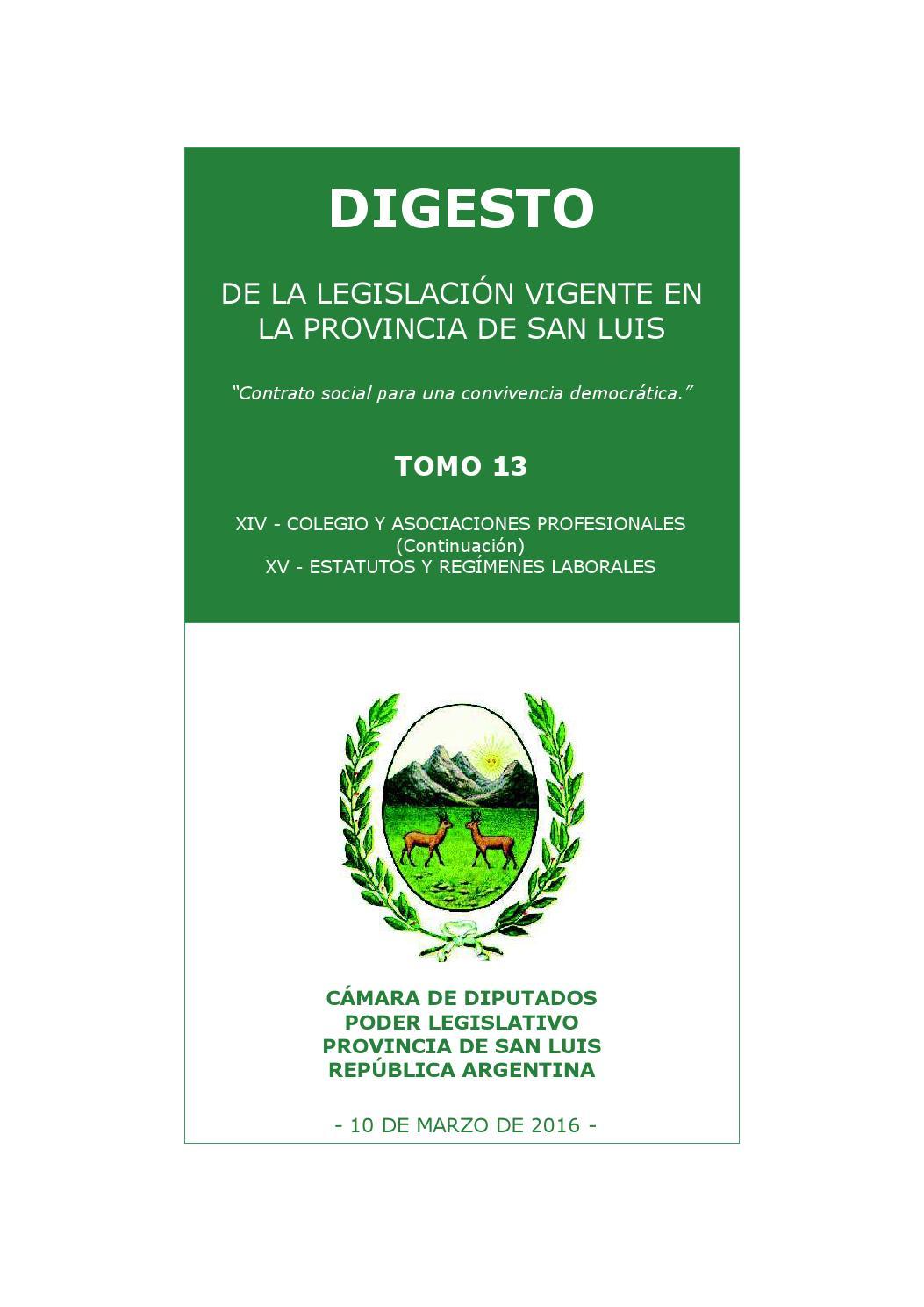 Digesto Provincia de San Luis Tomo 13 by Cámara de Diputados ...