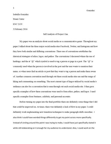 Self Analysis Paper One By Isabella  Issuu  Gonzalez Isabella Gonzalez Maari Carter Enc   February  Self  Analysis Of Project One My Paper Was An Analysis About Social Media As A
