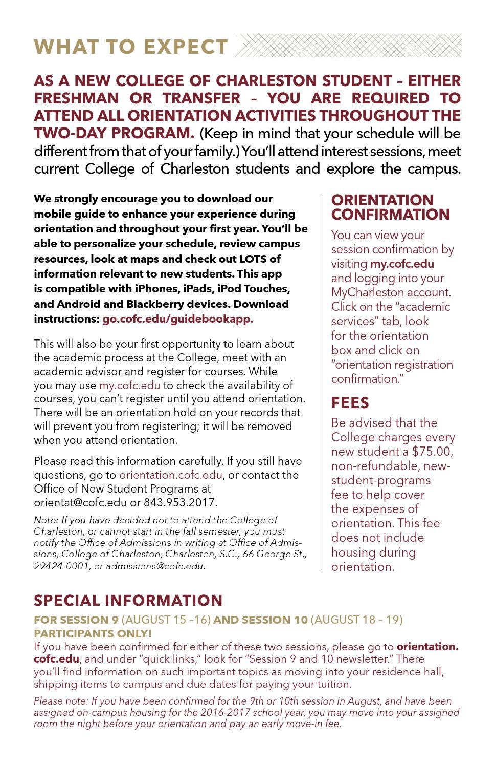 College of Charleston - Student Orientation Information