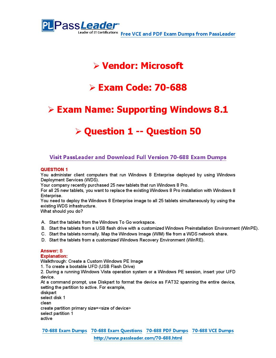 2016 New 70-688 Exam Dumps For Free (VCE and PDF) (1-50) by