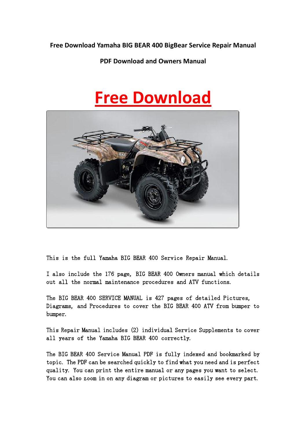 Yamaha Big Bear Manual