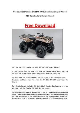 Yamaha big bear 400 bigbear service repair manual pdf