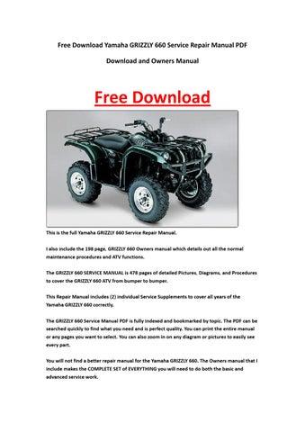 yamaha grizzly  service repair manual