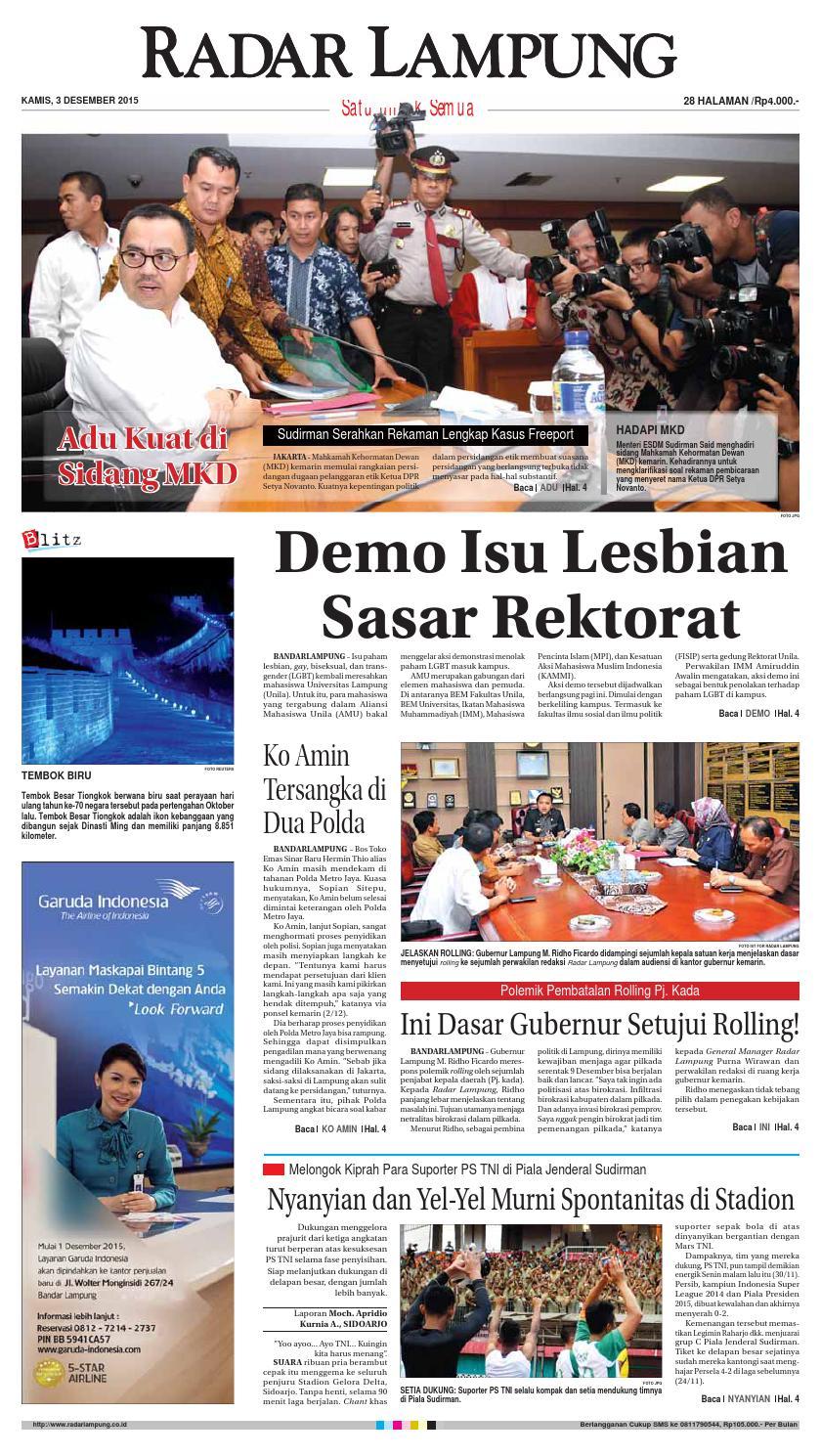 Radar Lampung Kamis 3 Desember 2015 By Ayep Kancee Issuu Produk Ukm Bumn Tenun Pagatan Atasan Wanita 4