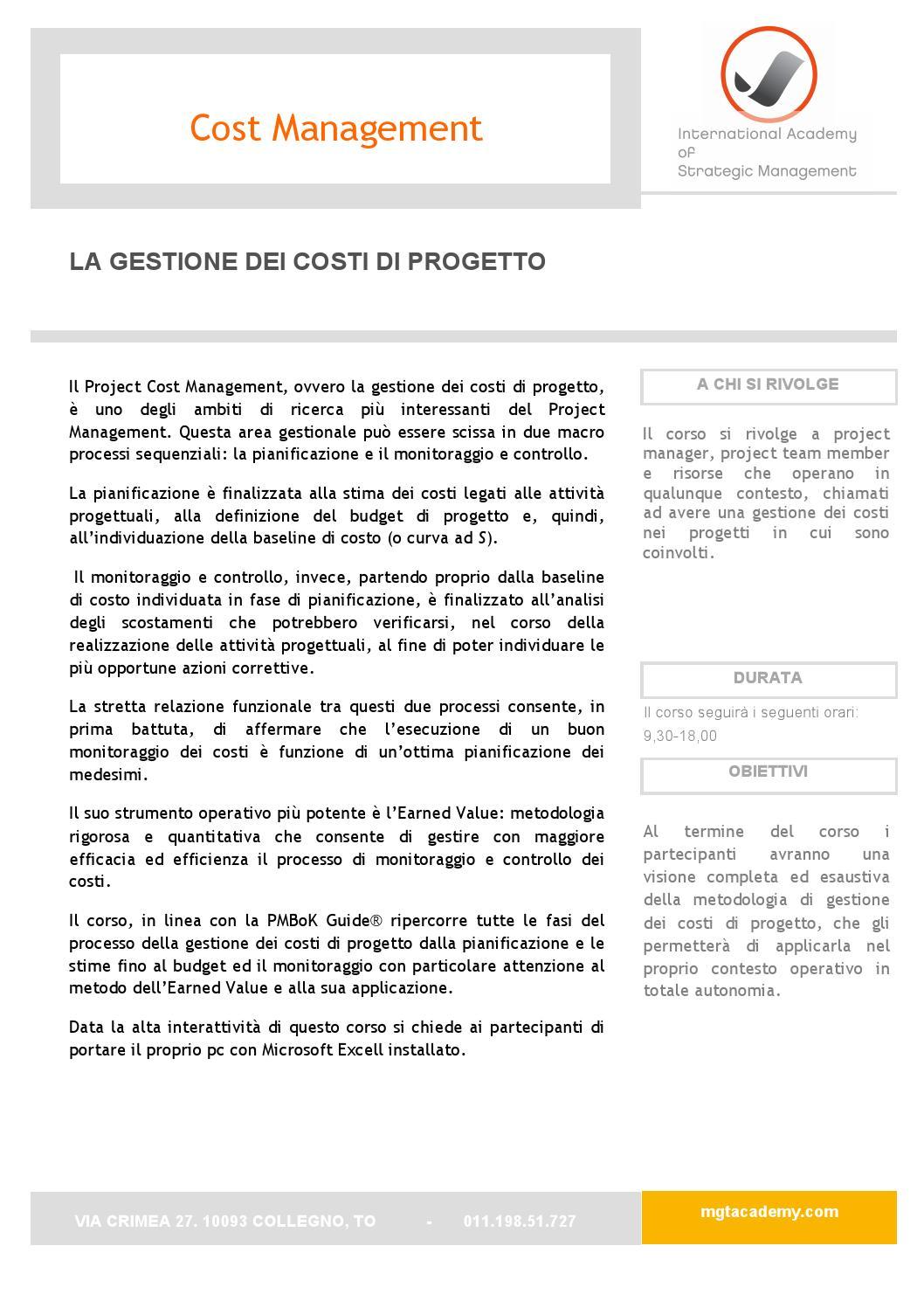 Programma cost management by international academy of for Stima del costo di due auto garage