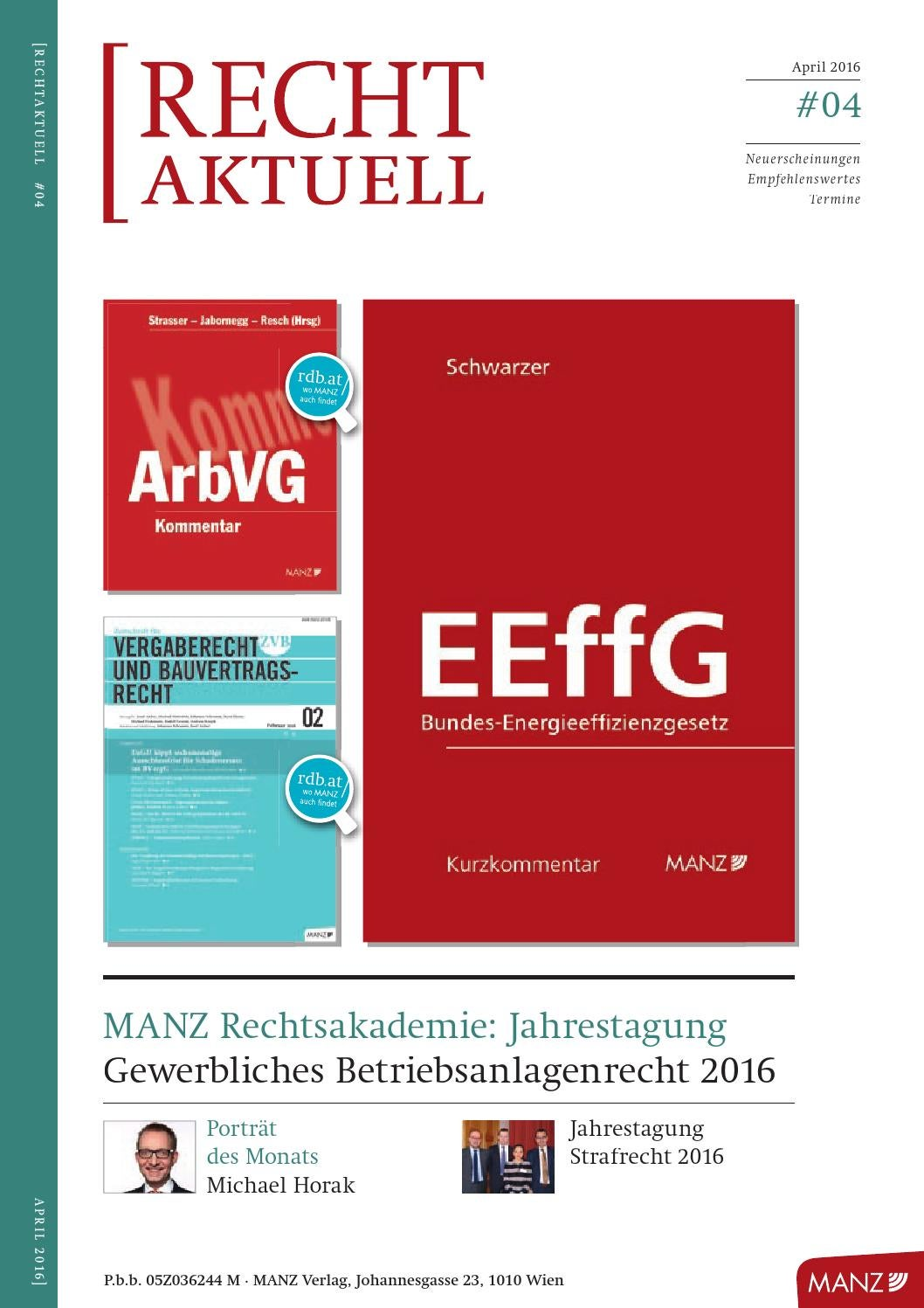 RECHTaktuell April 2016 by MANZ'sche Verlags- u Universitätsbuchhandlung  GmbH - issuu
