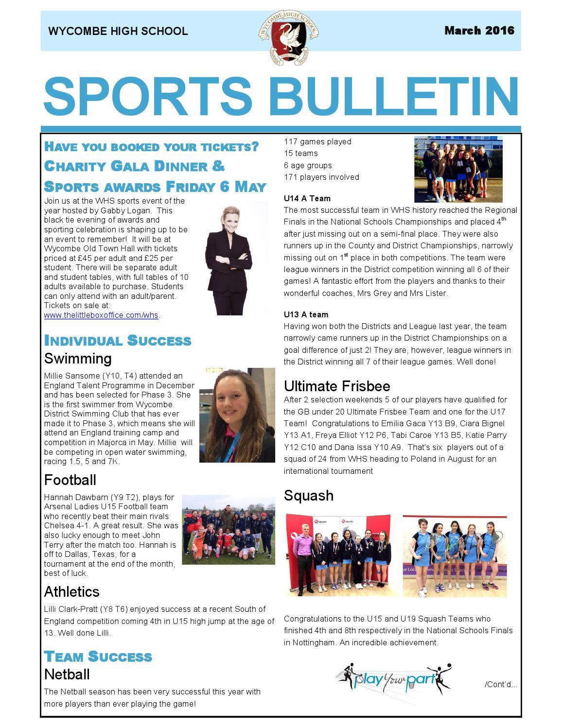 Sports bulletin march by Wycombe High School - issuu