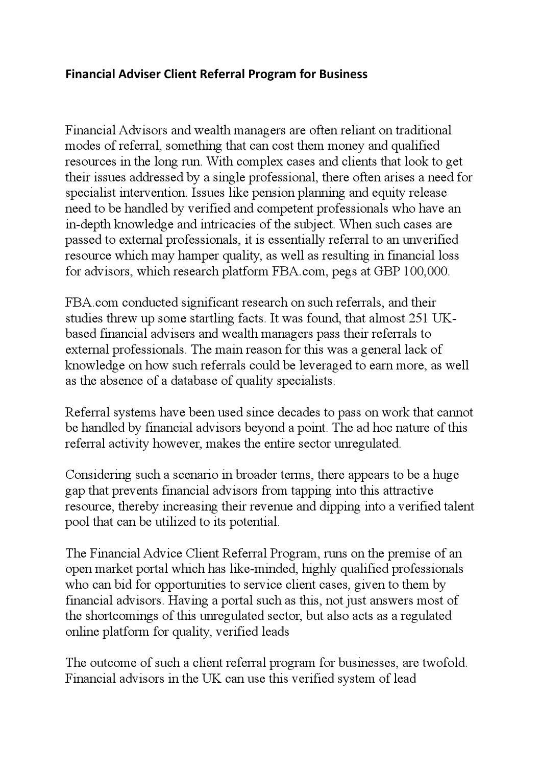 Financial adviser client referral program for business