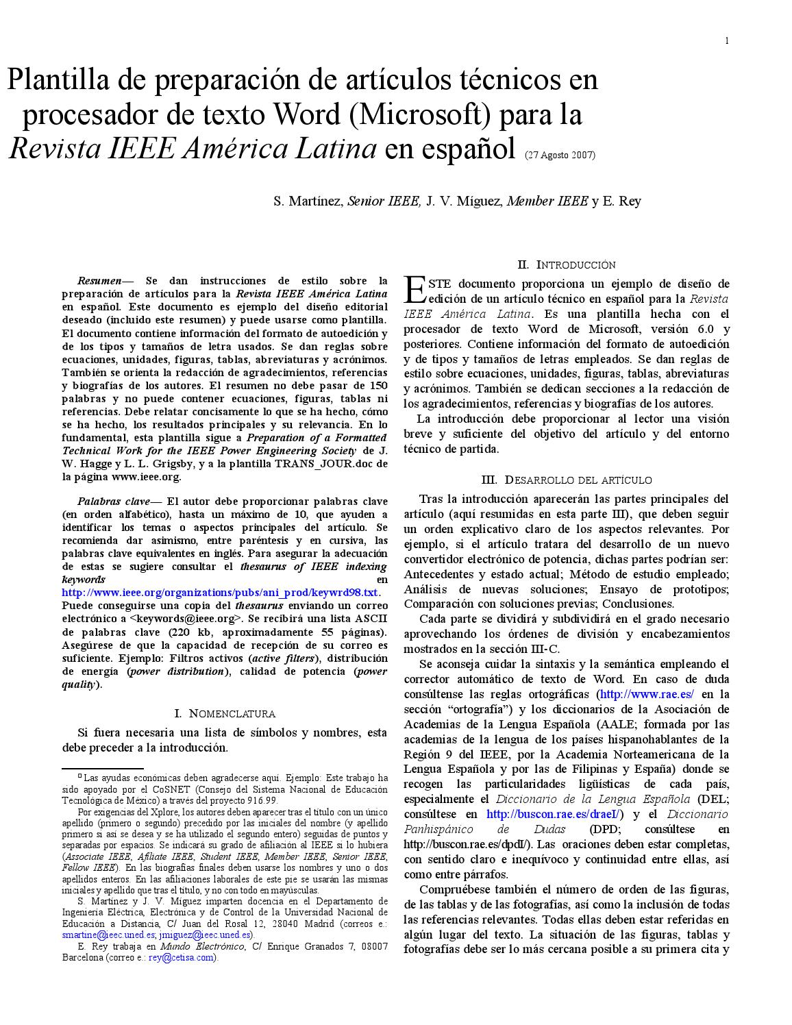 Excelente Ieee Plantilla De Word Inspiración - Ejemplo De Colección ...