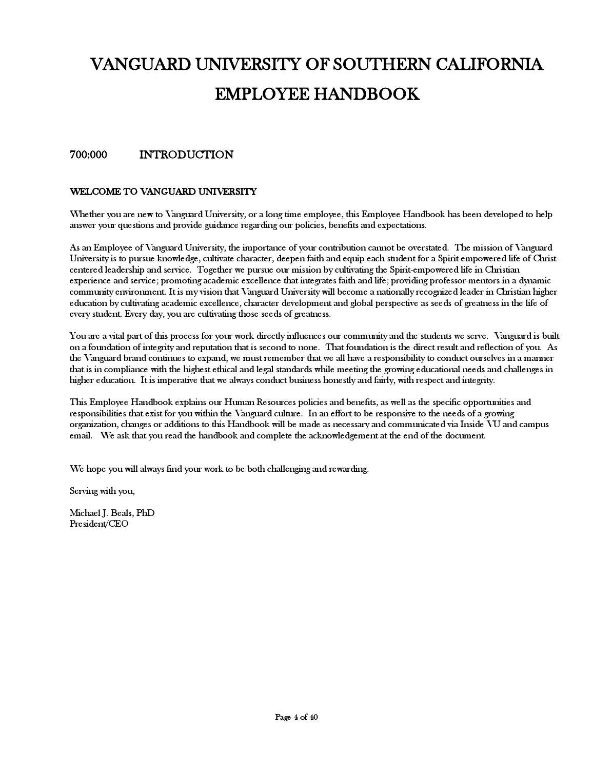 Vanguard employee handbook (2016 0330)v2 final by Vanguard
