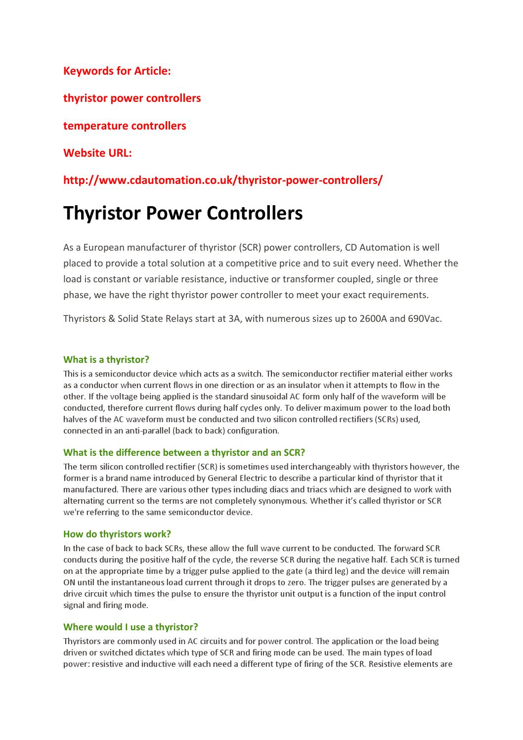 Thyristor Power Controllers By Johanleuan Issuu Scr Circuits Applications