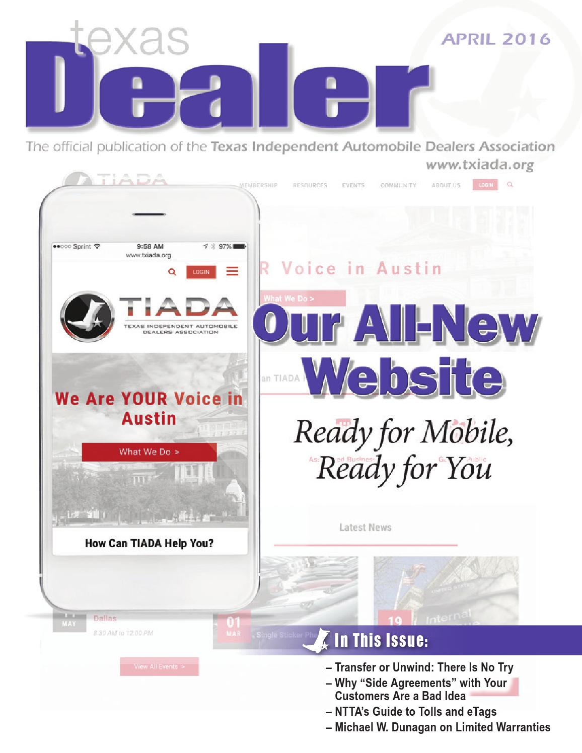 Texas dealer april 2016 by texas independent auto dealers for Fiesta motors buda tx