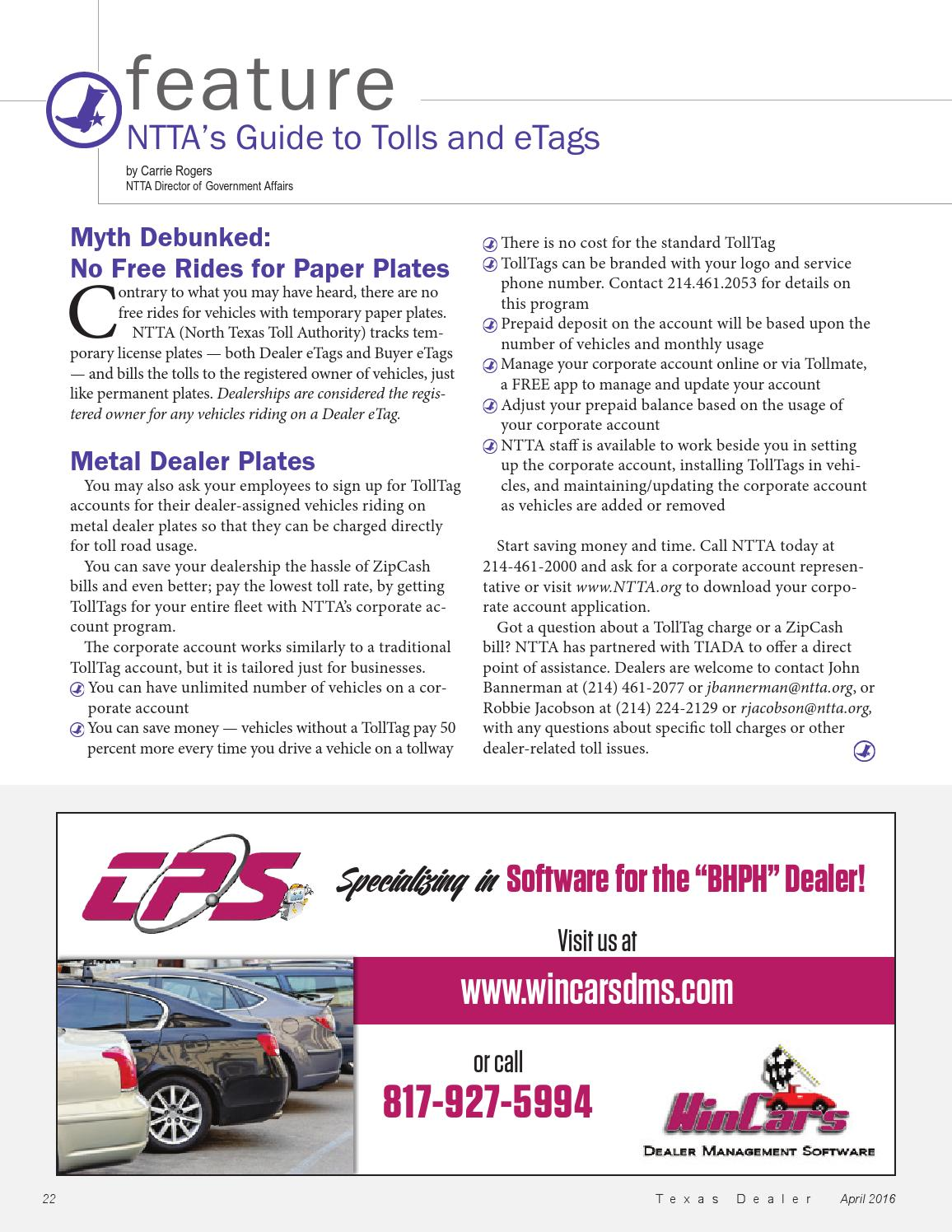 Texas Dealer, April 2016 by Texas Independent Auto Dealers