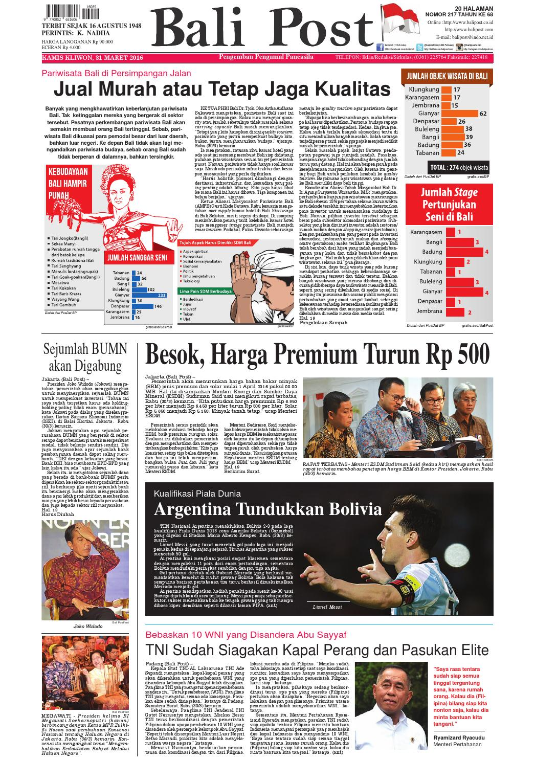 Edisi 31 Maret 2016 Balipostcom By E Paper Kmb Issuu Krezi Kamis 25  Karpet Pp Rug 100x150 Ter Free Ongkir