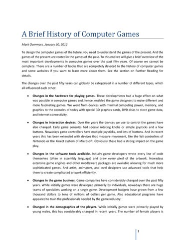 History Of Games By Epal Issuu - Game design brief
