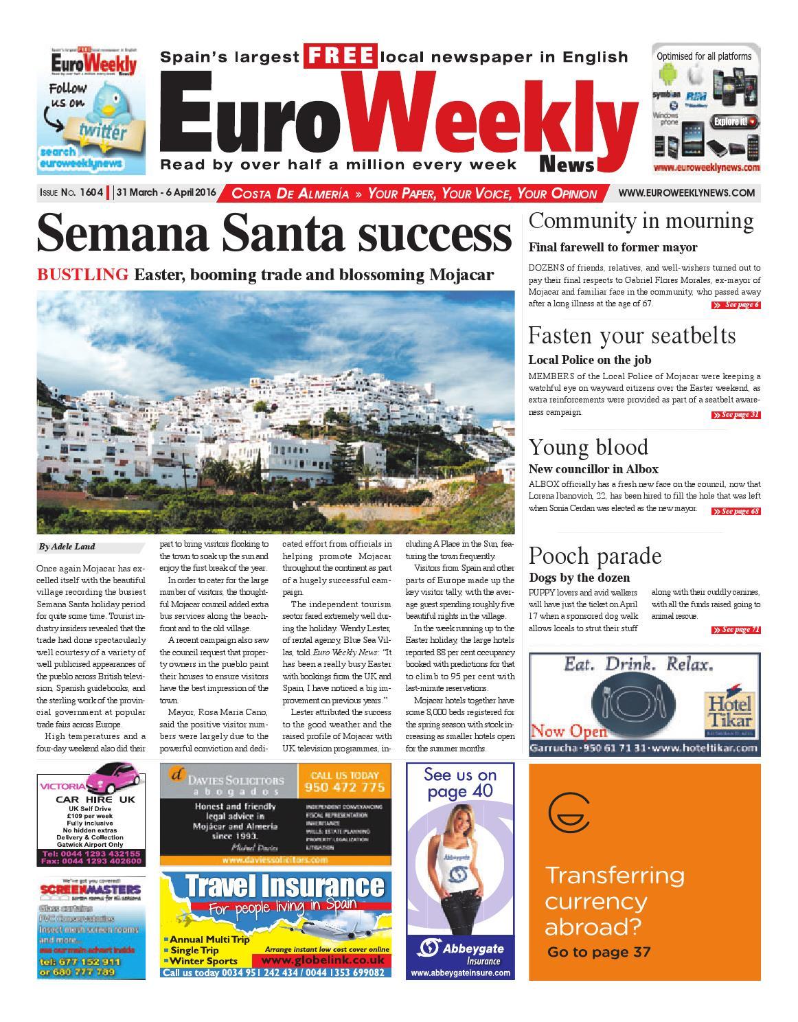 Euro Weekly News Costa De Almeria 31 March 6 April 2016 Issue  # Muebles Rogelio Nerja