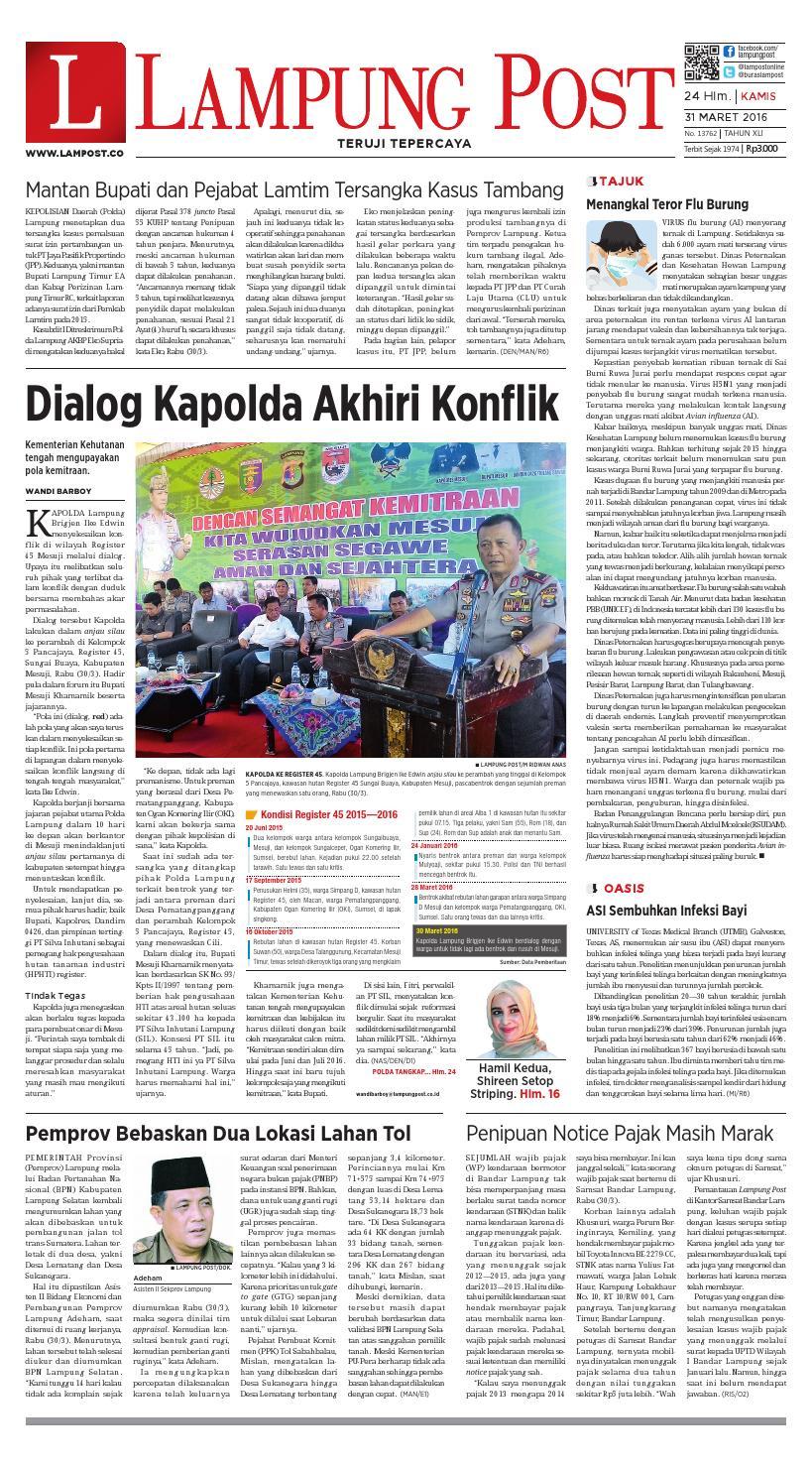 Lampung Post Kamis 31 Maret 2016 By Issuu Produk Ukm Bumn Jamu Kunyit Asam Seger Waras