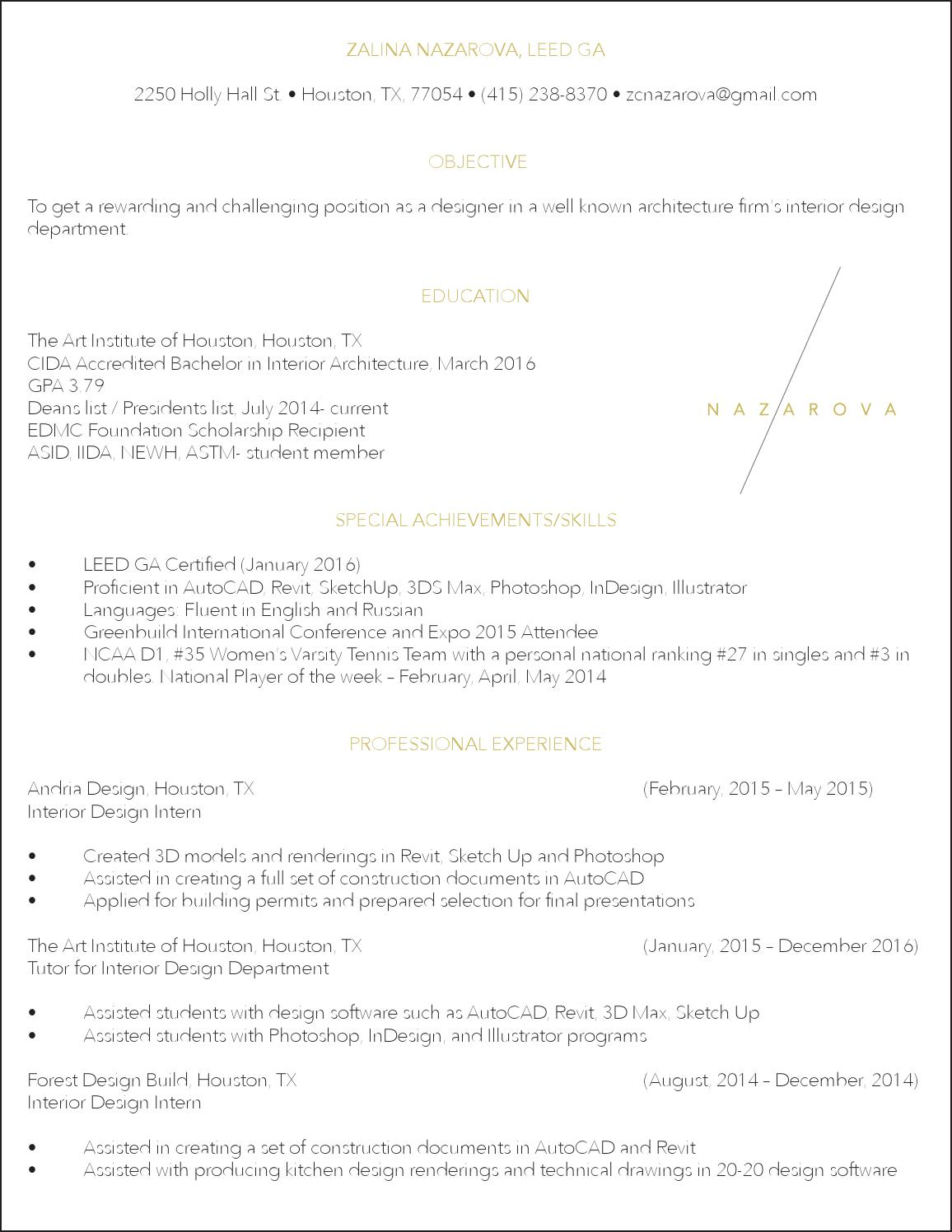 Resume by zalina nazarova issuu - Interior design internships houston ...