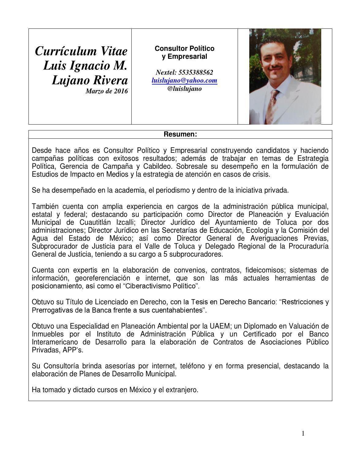 Luis Ignacio Lujano Rivera Currículum Vitae Mzo 2016 Formato BUAP by ...