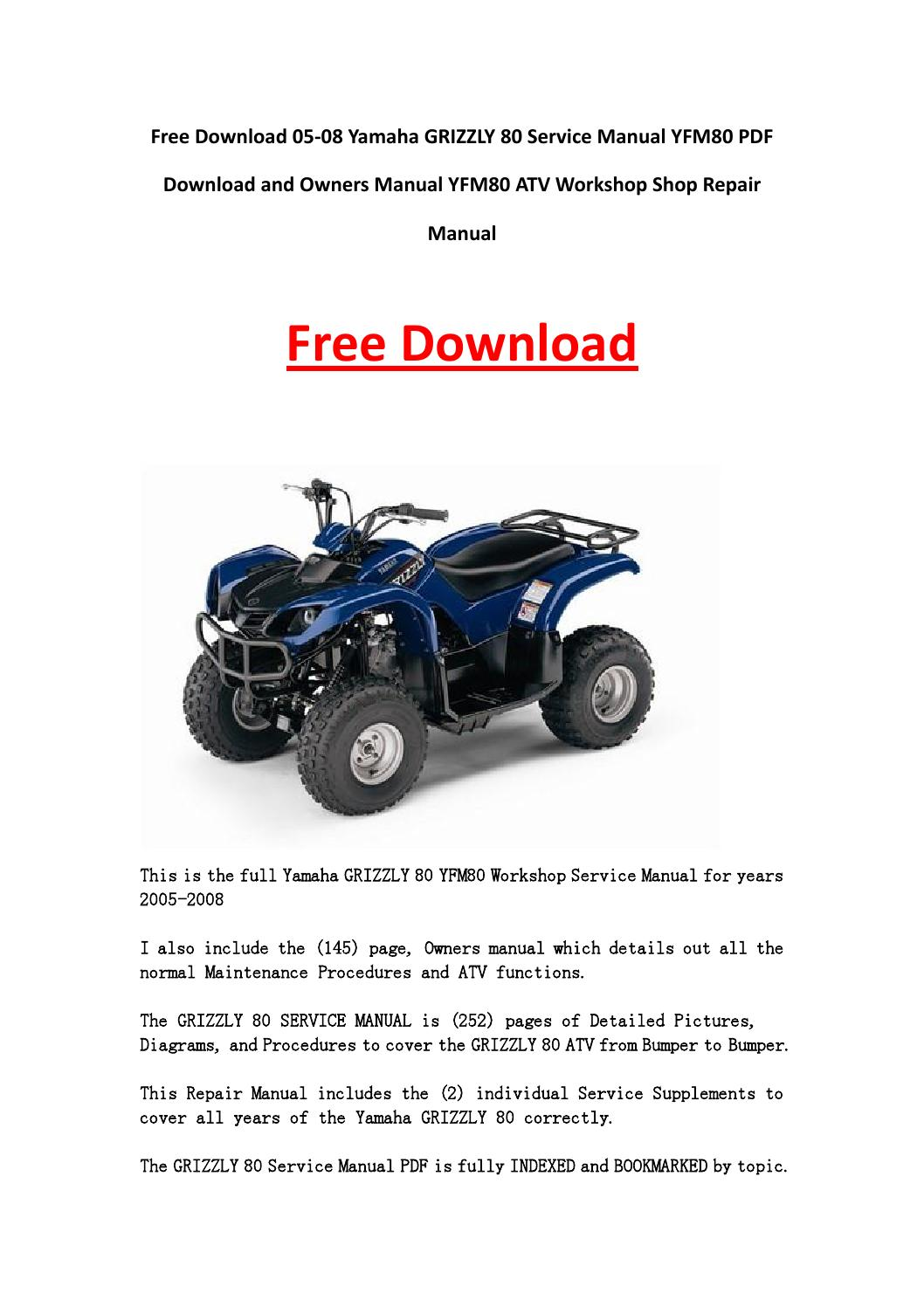 05 08 yamaha grizzly 80 service manual yfm80 pdf download for Yamaha grizzly 80