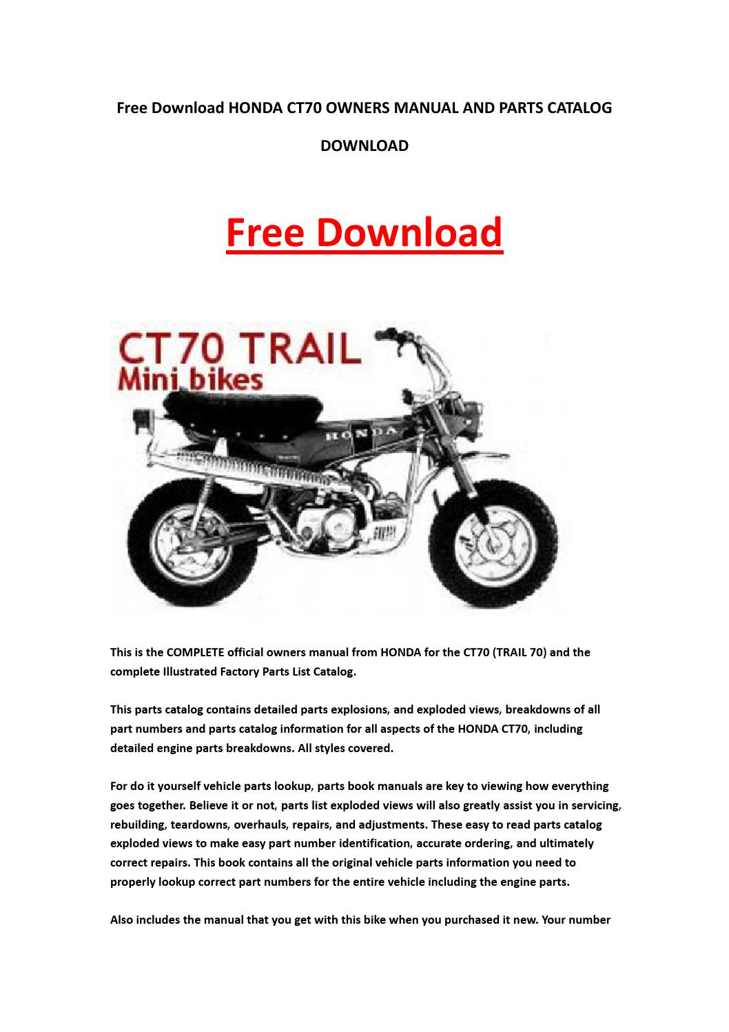 Honda Ct70 Owners Manual And Parts Catalog Download By
