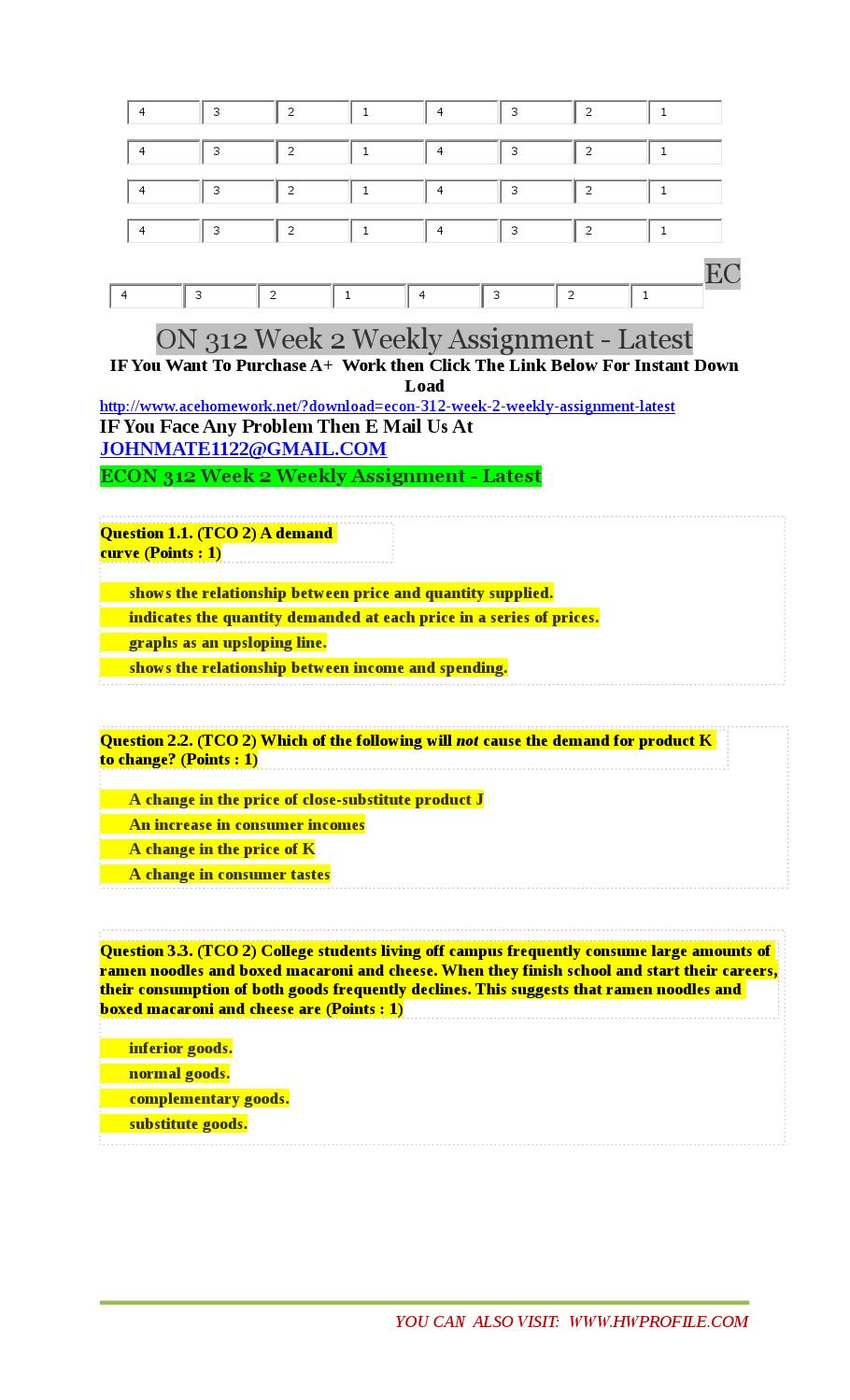 econ week 6 assignment Open document below is an essay on eco 550 week 6 assignment 2 – operations decisions from anti essays, your source for research papers, essays, and term paper examples.