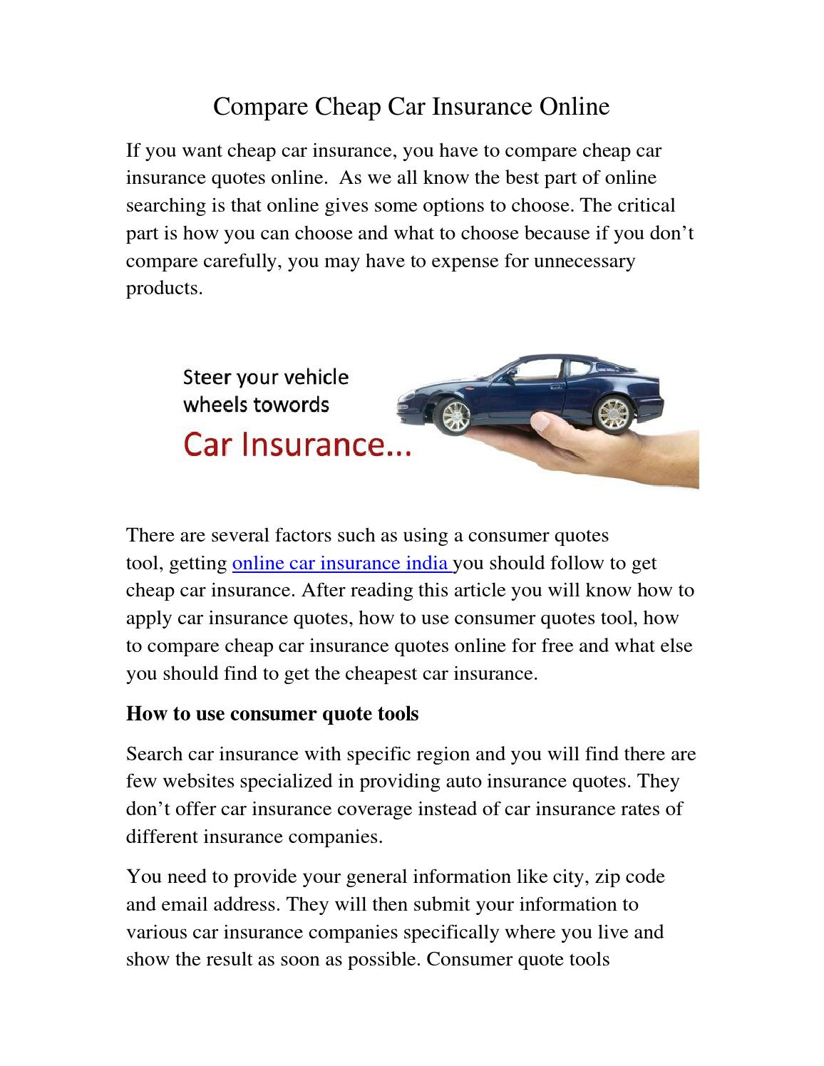 Compare Car Insurance Quotes Online India