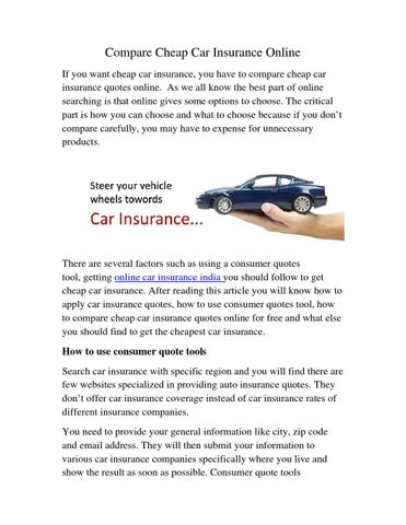 Compare Cheap Car Insurance Online By Sanjay Issuu - Show car insurance companies