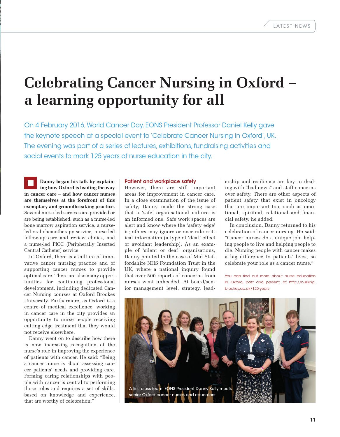 EONS (European Oncology Nursing Society) Magazine Spring