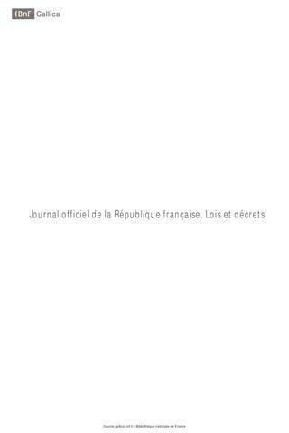 Journal officiel de la République française. Lois et décrets. 14 01 ... 2882672386a4