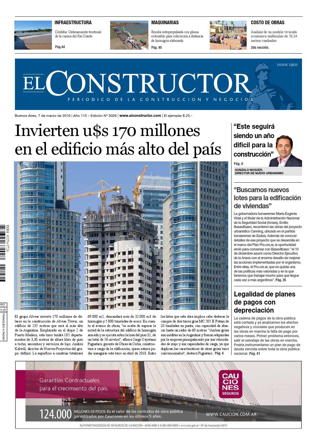 El Constructor 07/03/2016 - N° 5026 Año 115 by ELCO Editores - issuu