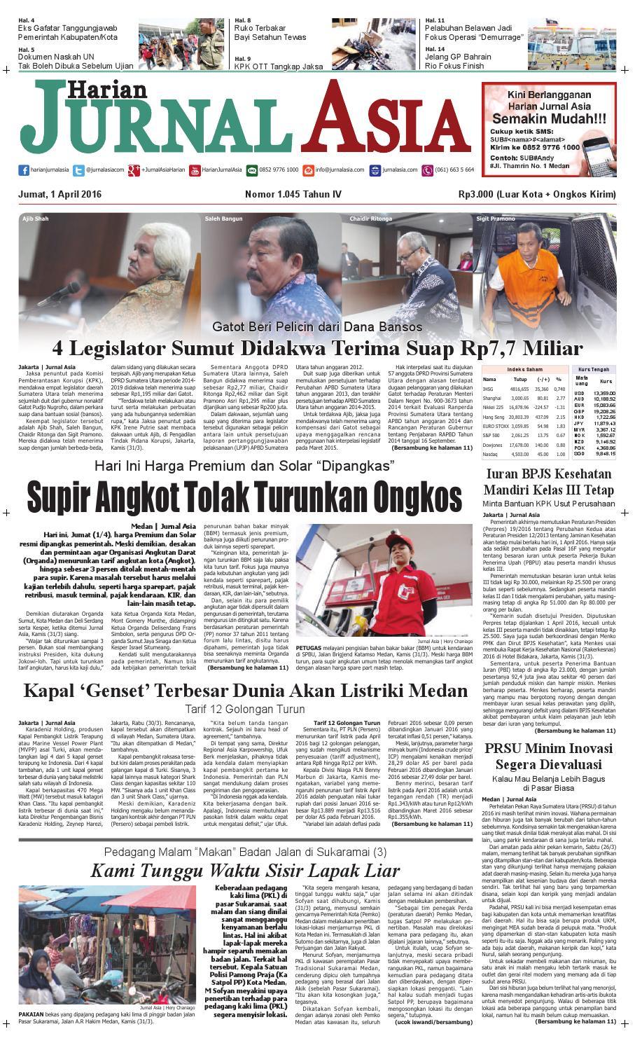 Harian Jurnal Asia Edisi Jumat 01 April 2016 By Produk Ukm Bumn Kain Batik Middle Premium 3 Bendera Medan Issuu