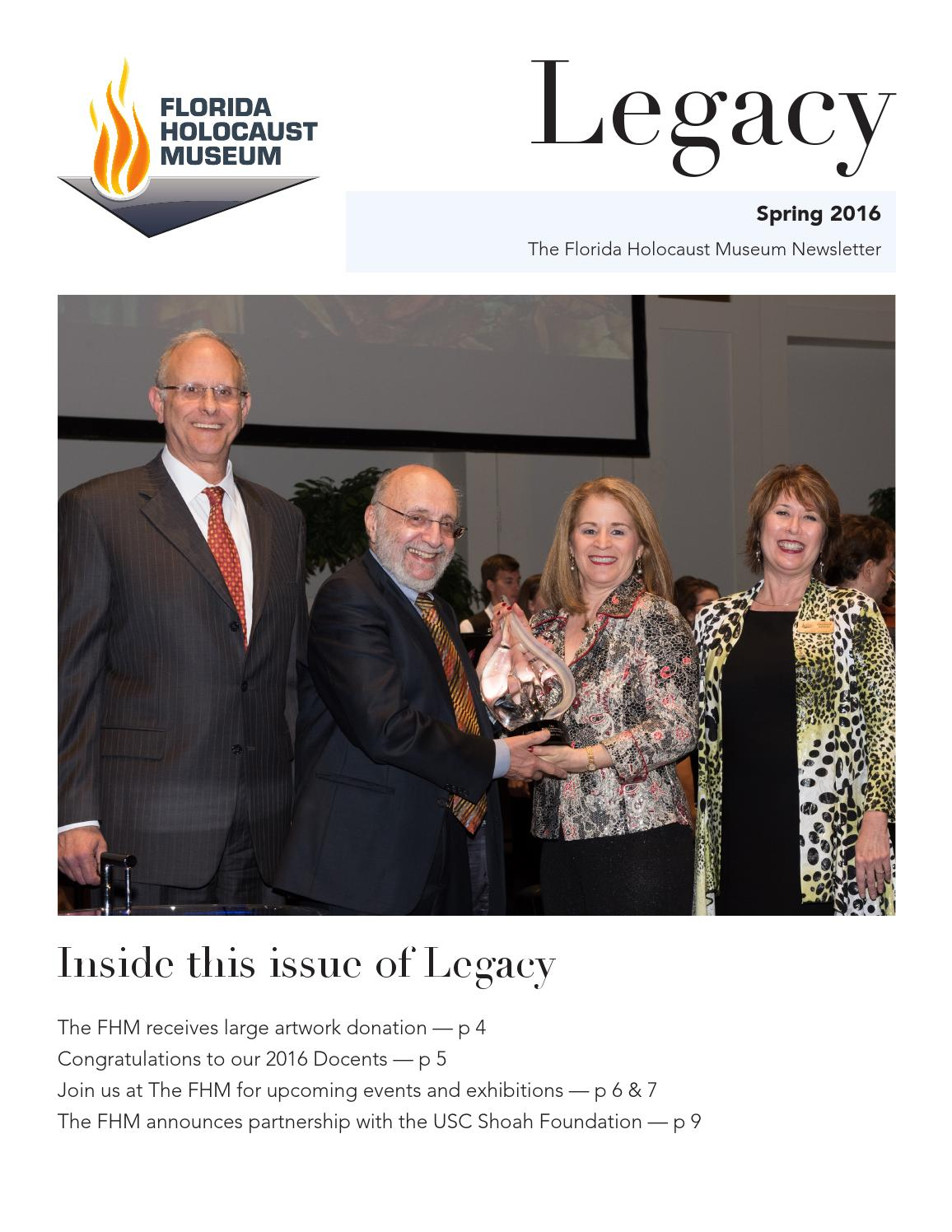 Spring 2016 Newsletter by The Florida Holocaust Museum - issuu