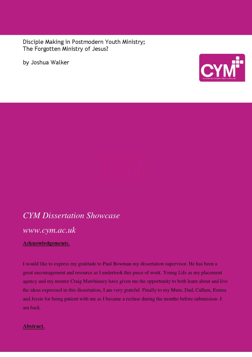CYM dissertation - Joshua Walker by Institute for Children, Youth ...