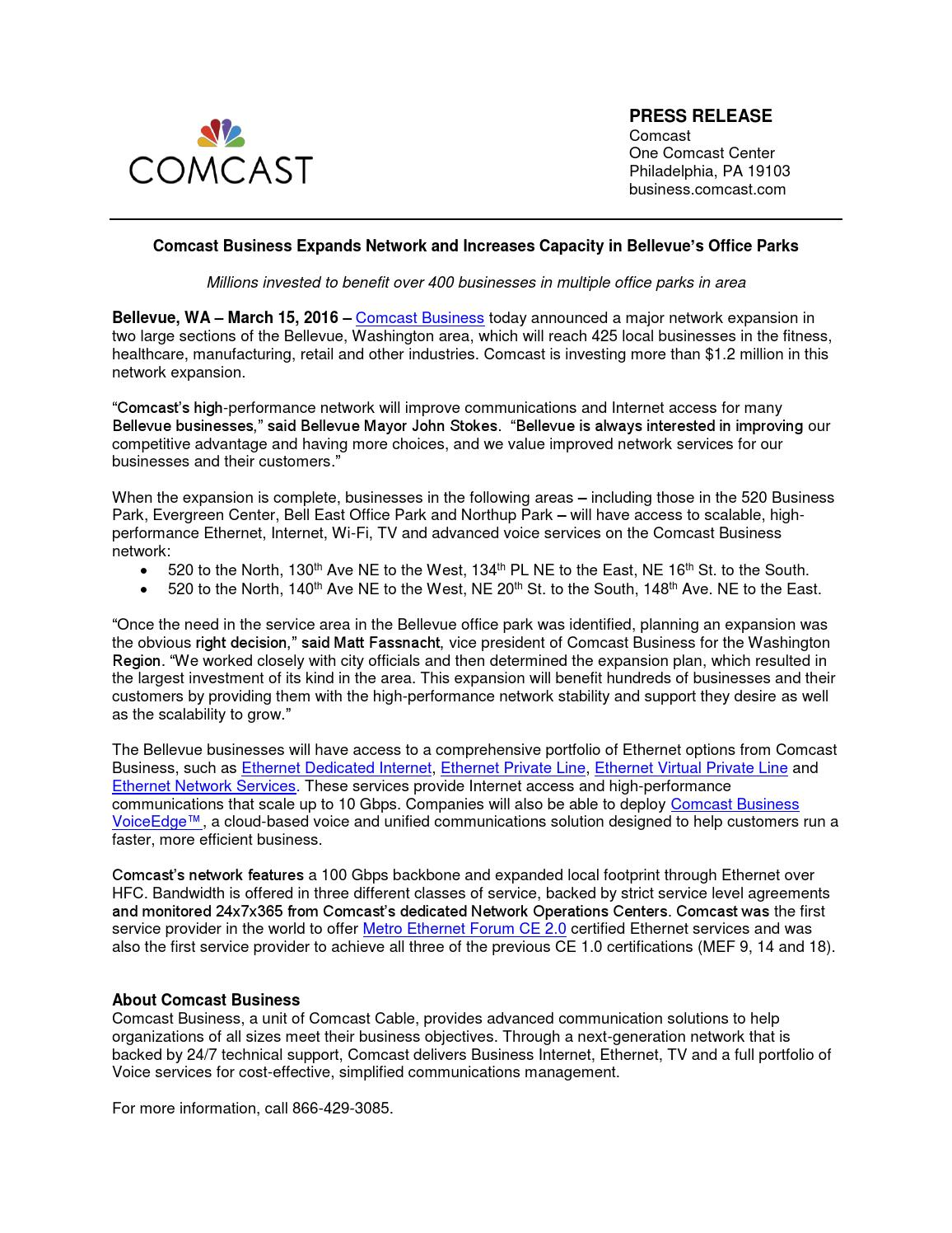 Comcast Business Expands Network In Bellevue by Brian Wade
