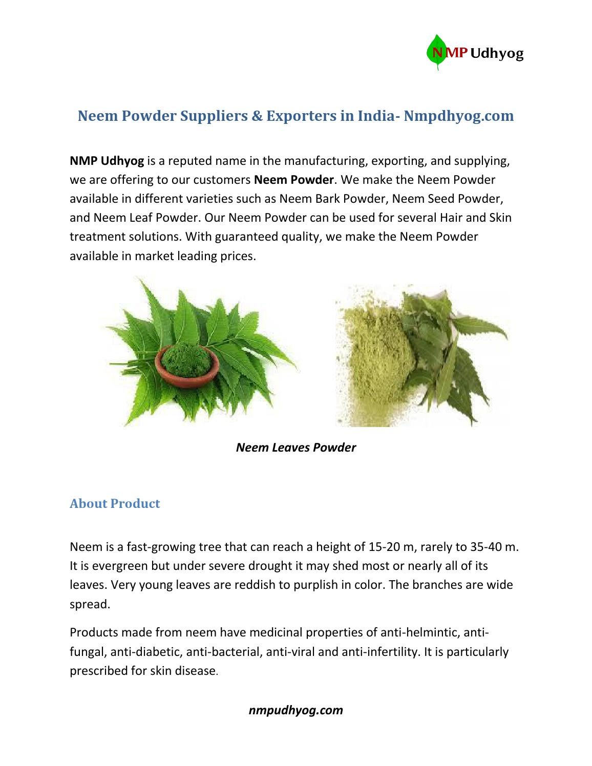 Neem powder suppliers & exporters in india nmp udhyog by