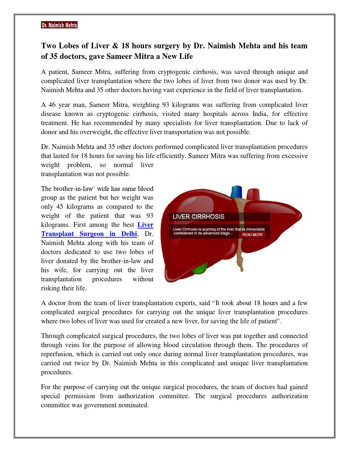 Two Lobes Of Liver 18 Hours Surgery By Dr Naimish Mehta And His