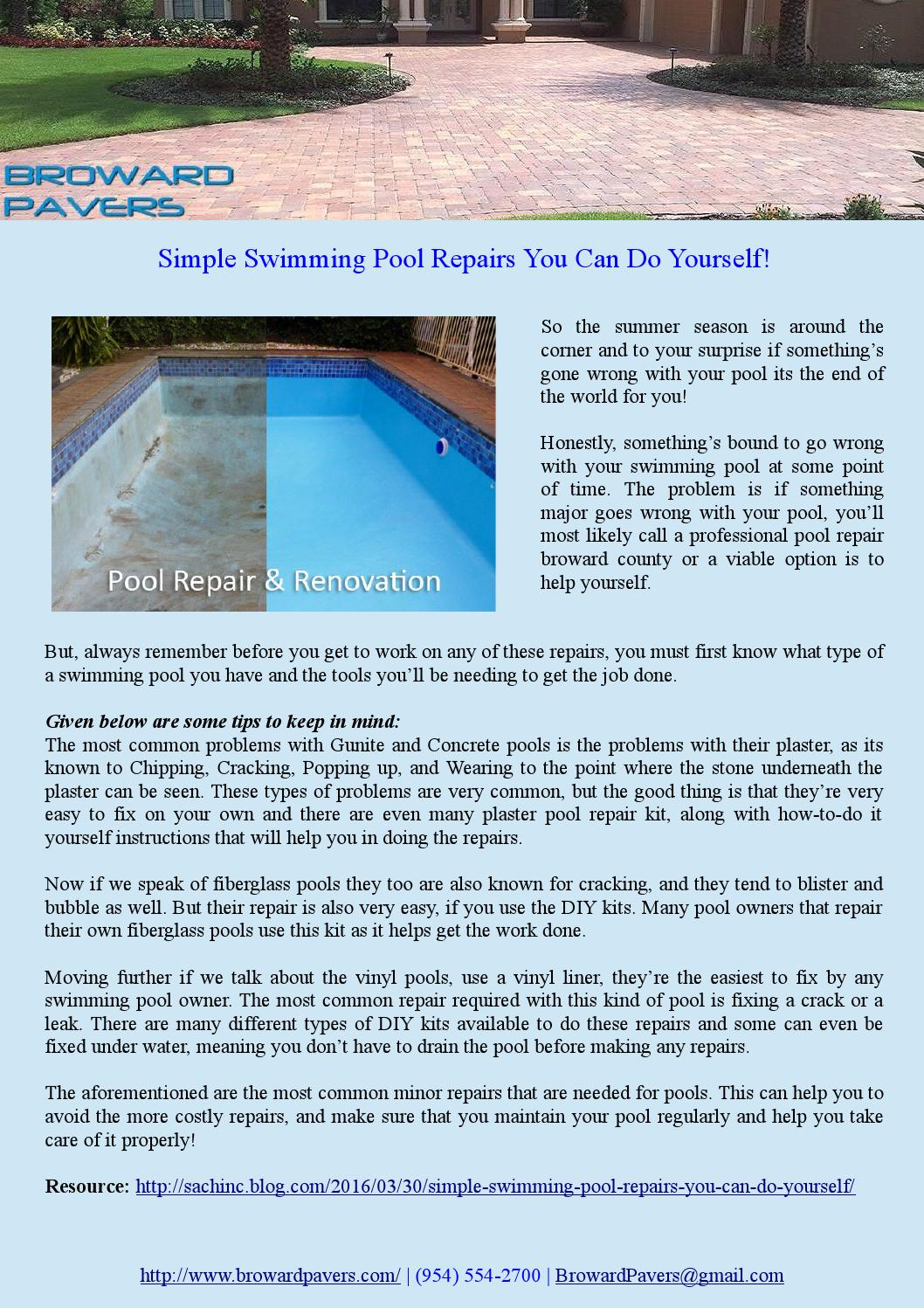 Marvelous Simple Swimming Pool Repairs You Can Do Yourself! By Cissachin   Issuu
