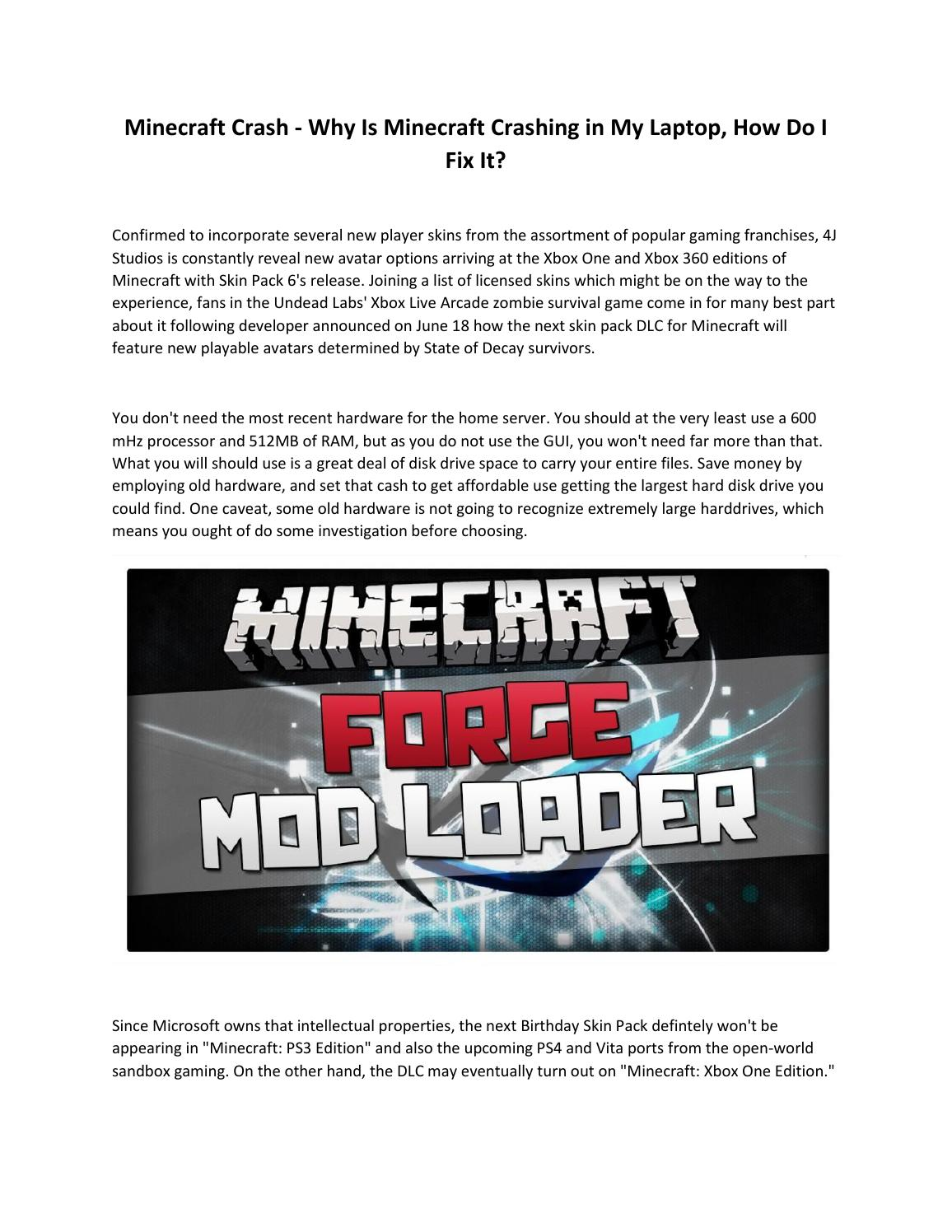Why is minecraft crashing in my laptop by Nguyen Quang Dai - issuu