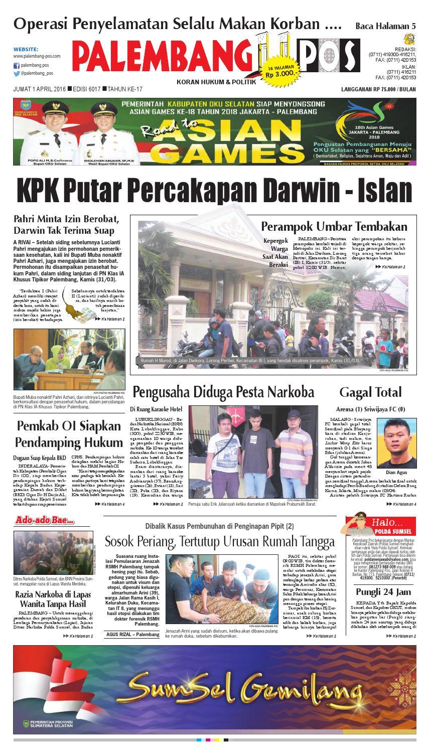 Palembang Pos Edisi Jumat 1 April 2016 By Palembang Pos Issuu