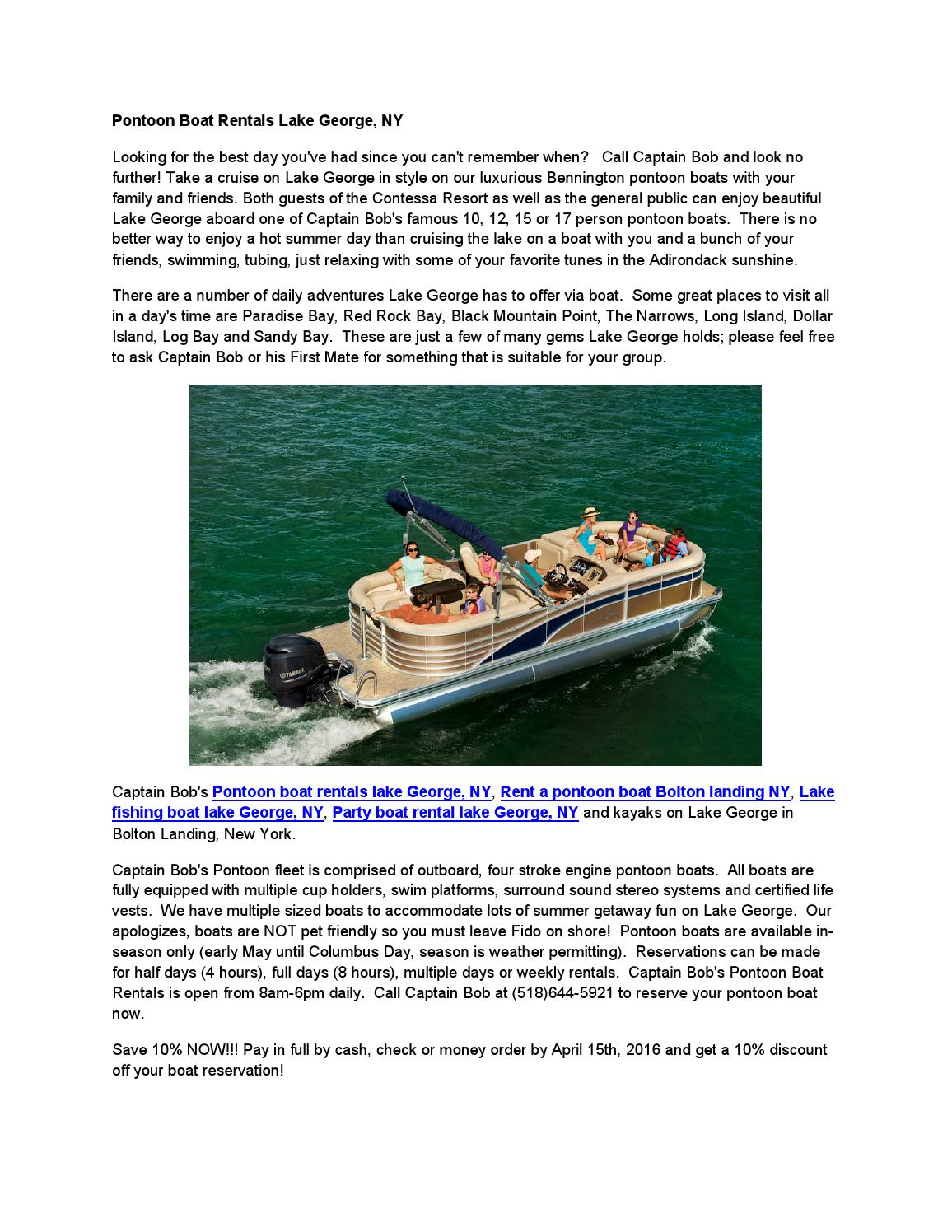 Pontoon boat rentals lake george, ny by Pontoon boat rental