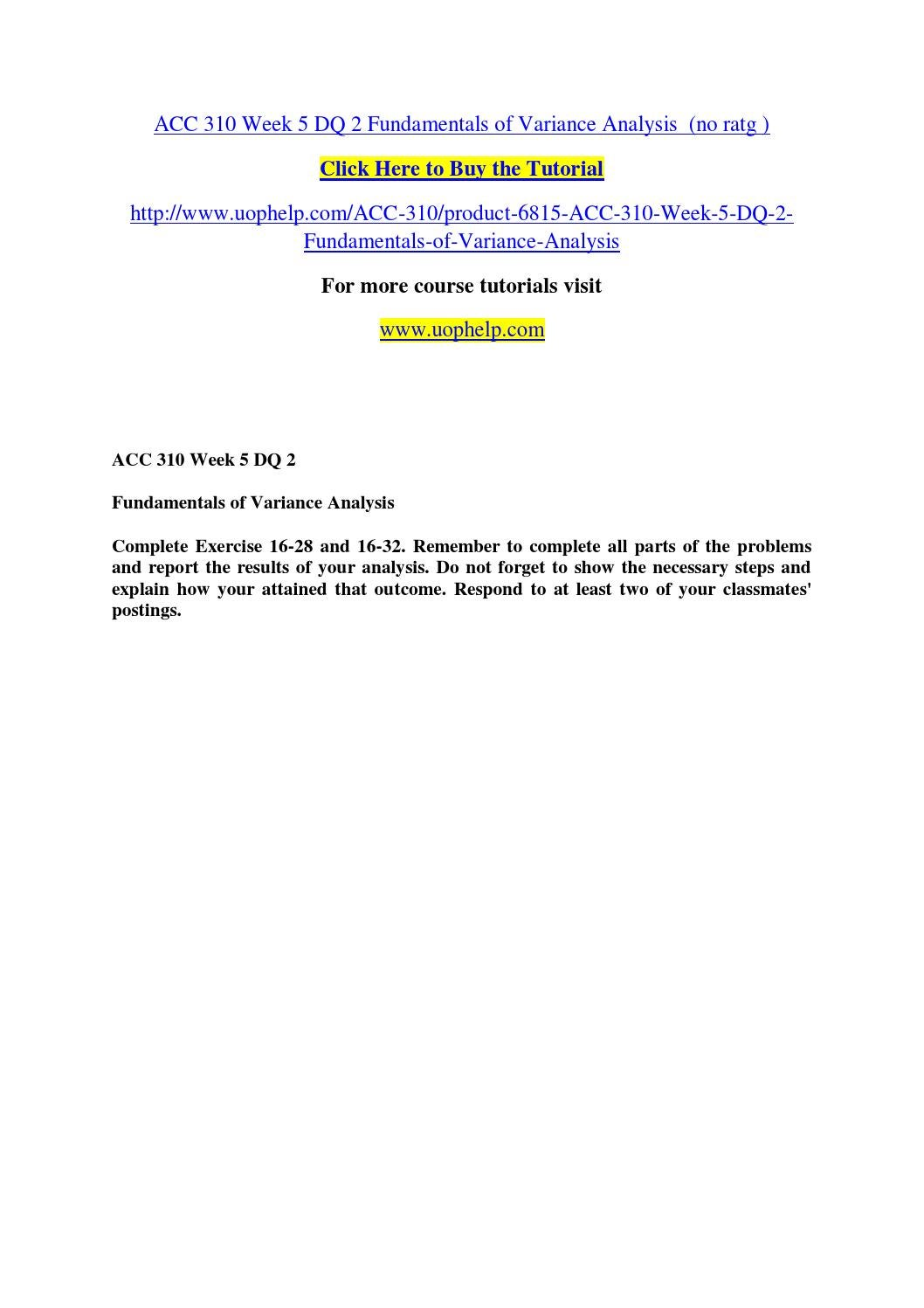 Acc 310 week 5 dq 2 fundamentals of variance analysis (no