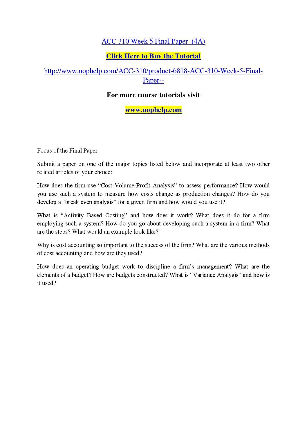 Acc 310 week 5 final paper (4a) by Zxcvcbv - issuu