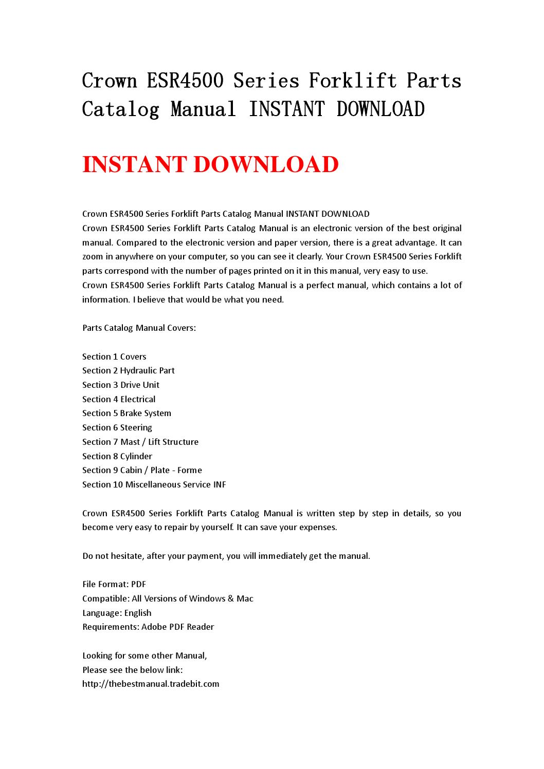 Crown esr4500 series forklift parts catalog manual instant download by  nhsjefnhe7d - issuu