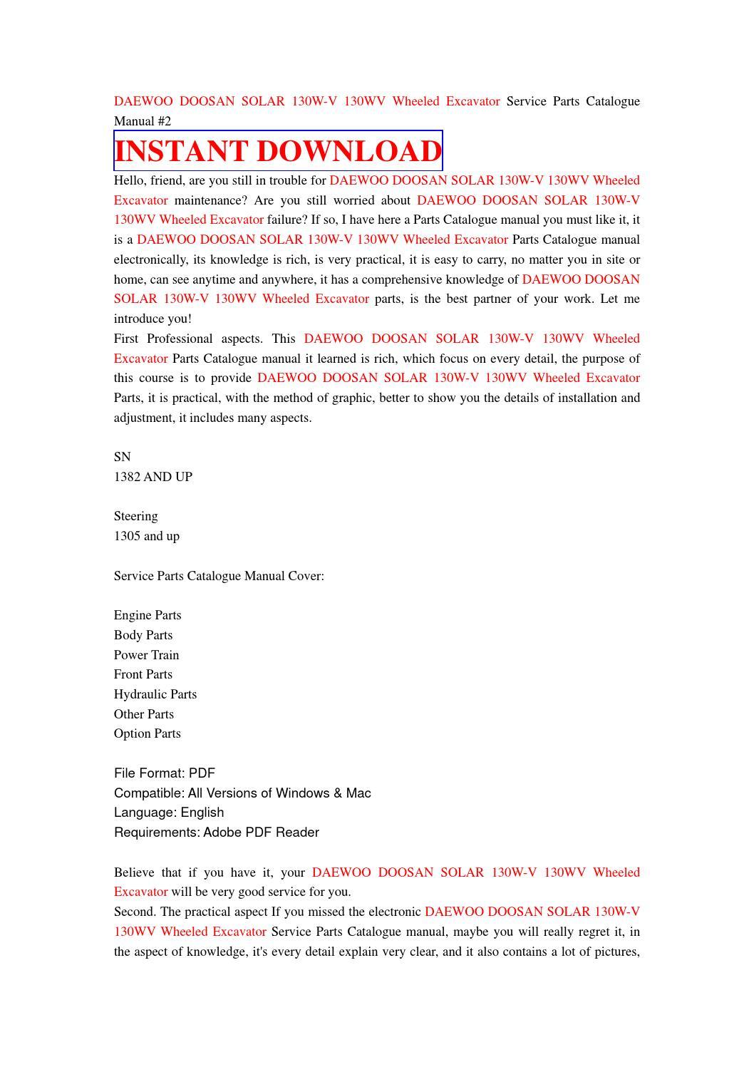 Daewoo doosan solar 130w v 130wv wheeled excavator service parts catalogue  manual #2 by nhsjefnhe7d - issuu