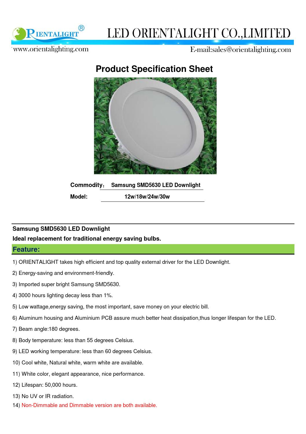 Specification sheet of new led downlight by LED Orientalight Co